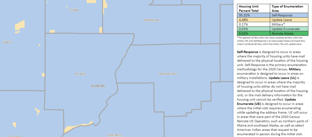 map showing Peoria County explaining how 95% of the county is designated as Self-Response by the Census Bureau