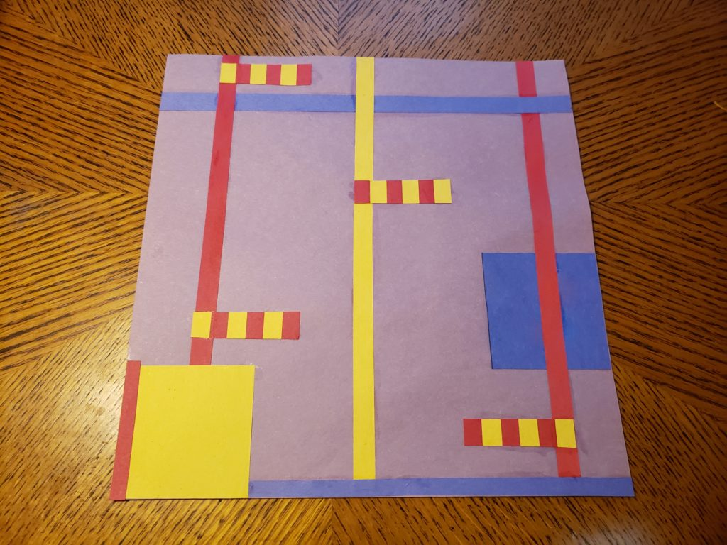 An abstract pattern collage using red, yellow, and blue paper on a pale purple background. Four short red and yellow striped rectangles run perpendicular from three vertical columns. Two blue stripes run horizontal near the top and bottom of the work, and there is a blue square on the right side and a yellow square with a single red edge in the lower left corner.
