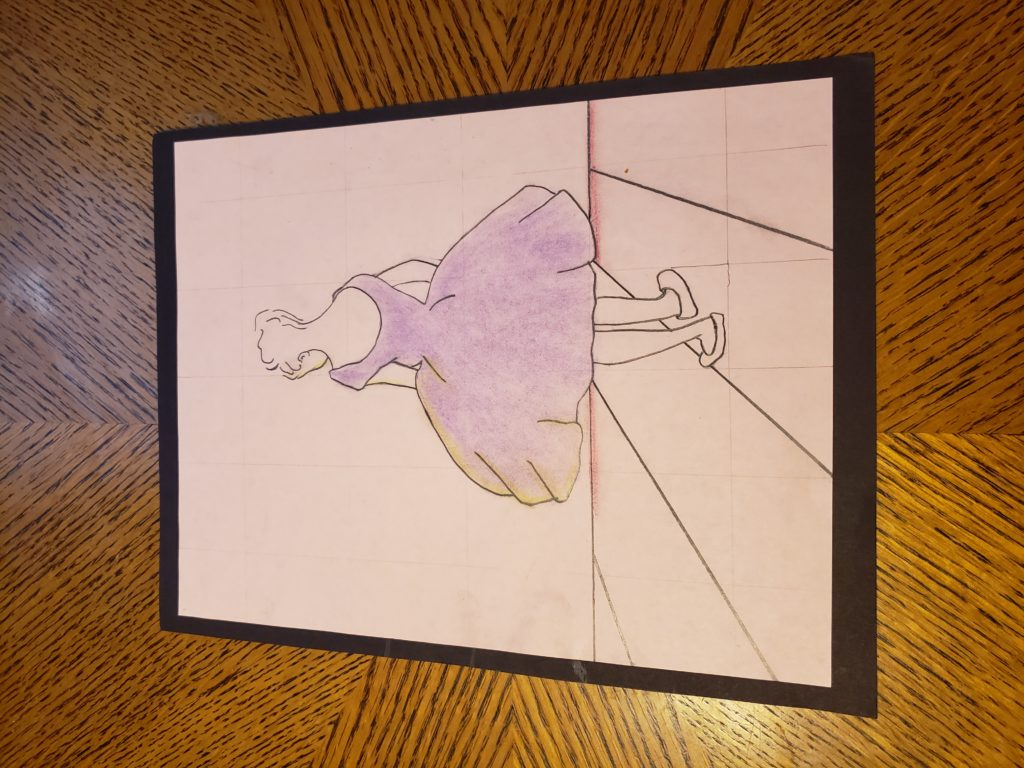 A pencil drawing of a ballerina posing. She faces the wall, her back to us, and her purple tutu flares out around her. Her hair is put up in an elegant bun.