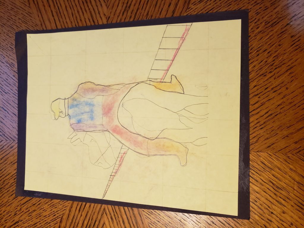 A pencil drawing of a person on horseback from behind. The horse's turned head and rump are all that are visible of the animal, and the person wears a yellow hat, a blue vest over a purple shirt, and brown boots. They walk towards a fence that stretches into the distance.