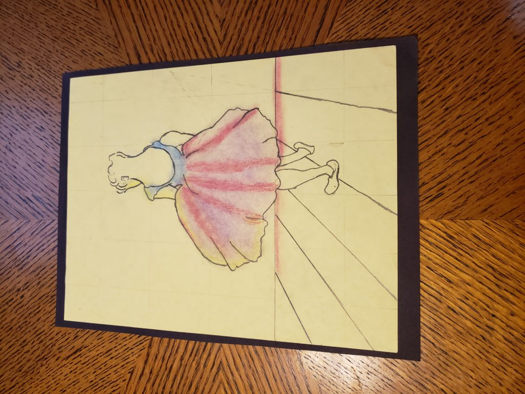 A pencil drawing of a ballerina posing. Her back is to us and she faces a blank wall, and her purple tutu flares out around her.