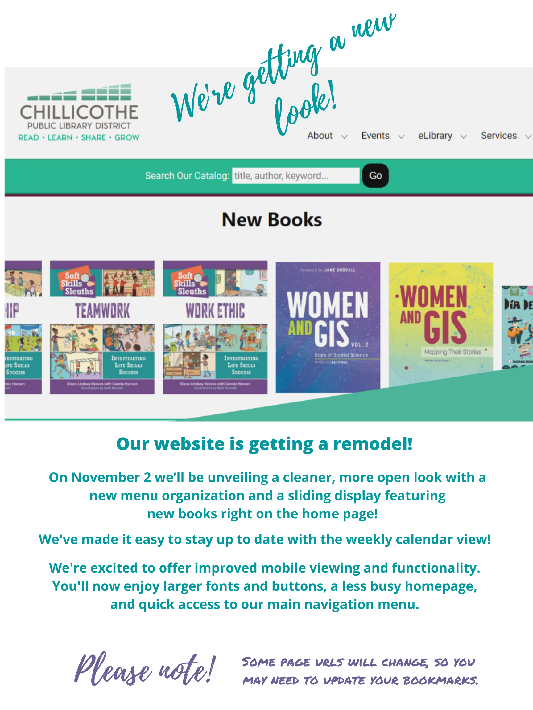 Our website is changing November 2! Enjoy a cleaner layout, easier navigation, better mobile device functionality, and new home page features like a weekly calendar view and new book slider. Some urls are changing, so you may need to update bookmarks.
