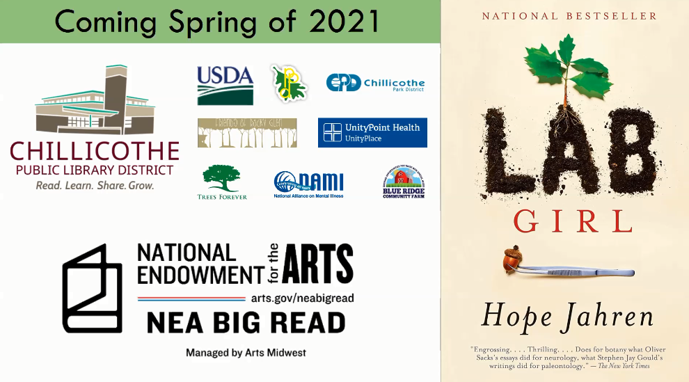 """Book cover of Lab Girl by Hope Jahren with a block of sponsor logos and the text, """"Coming spring of 2021: NEA Big Read."""""""