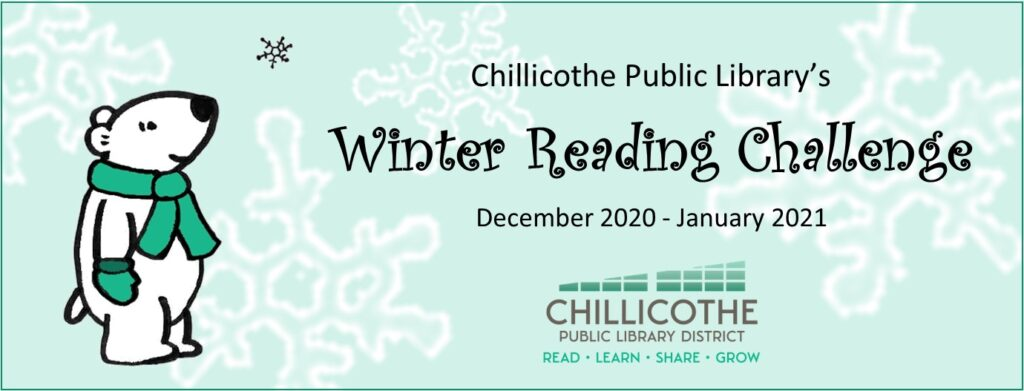 Winter Reading Challenge Dec 2020 to Jan 2021. Register at the library or follow the link to Beanstack