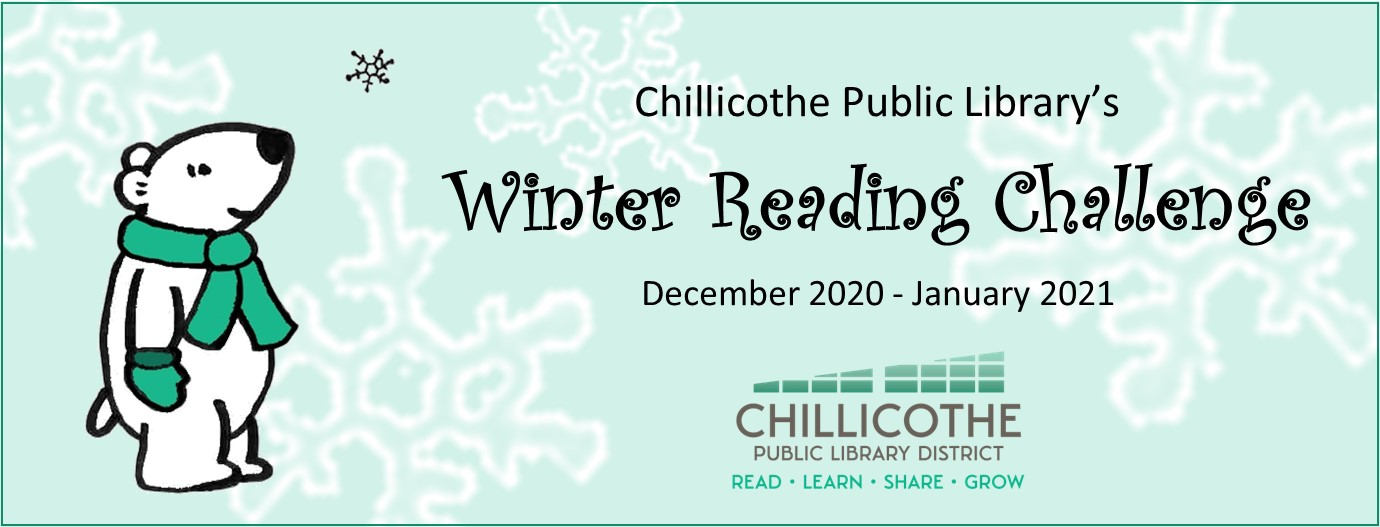 winter reading challenge December 2020 to January 2021. Sign up at the library or follow the link to beanstack