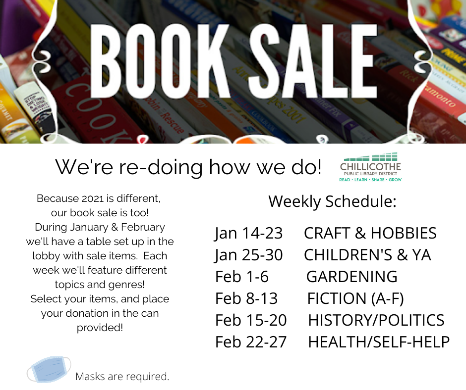Book Sale January & February in the lobby. Each week has a new genre to browse; pay what you want with the provided donation can!